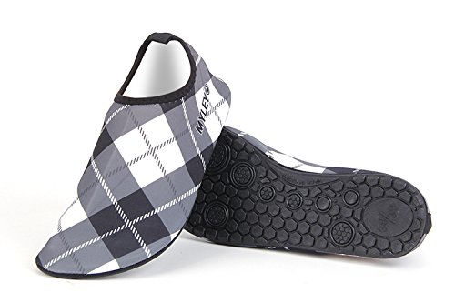 Hysenm Unisex Geruite Patroon Elastische Op Blote Voeten Huid Waterschoenen Aqua Sokken Voor Strand Surf Zwemmen Yoga Dance Grijs