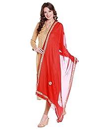 Dupatta Bazaar Women's Red Chiffon Dupatta with Gold Gotta Patti Work.