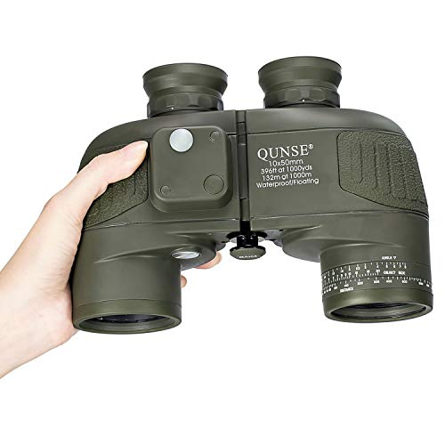 QUNSE Military HD Binoculars for Bird Watching, with Compass and Rangefinder, 10x50 Large Object Lens Large View BAK4, with Binocular Harness Strap, Waterproof
