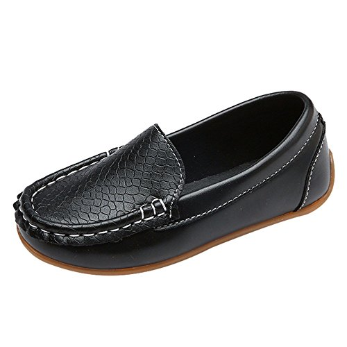 id Boys Girls Soft Sole Solid Leather Sport Lazy Sneaker Casual Boat Shoes Black ()