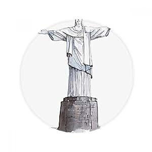 Alfombrilla antideslizante para mascota, diseño de Cristo Redentor en Brasil, redonda, para baño, salón, cocina, puerta, 60/50 cm, regalo