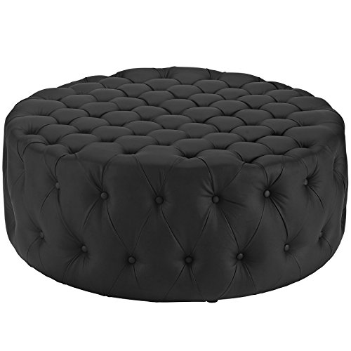 (Modway Amour Faux Leather Button-Tufted Round Ottoman in Black)