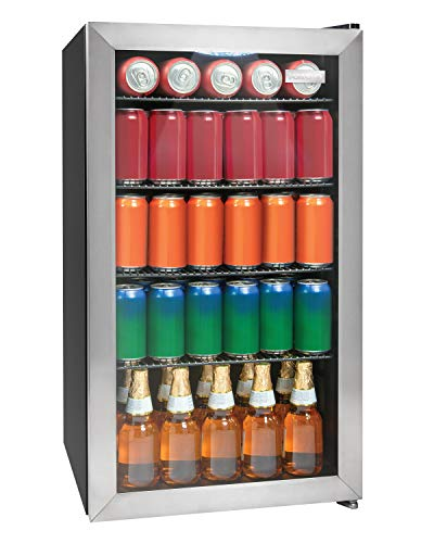 Igloo IBC35SS 135-Can Capacity Stainless Steel LED-Lighted Double-Pane Glass Door Beverage Center Refrigerator and Cooler for Soda, Beer, Wine and Water,
