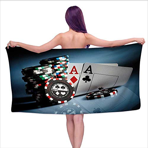 Bensonsve Bath Towel Sets Prime Poker Tournament Decorations,Gambling Chips and Pair Cards Aces Casino Wager Games Hazard,Multicolor,W20 xL39 for Youth Girls Cotton (Chip Via Ram Set)