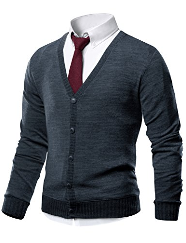 HARRISON83 Mens Slim Fit V-Neck Button Up Cardigan Sweater /NS1088-CHARCOAL-L