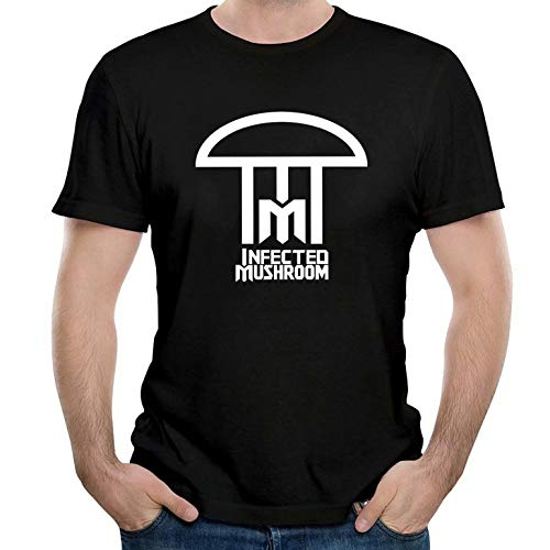 Paul Tayhgrom Men's Infected Mushroom Logo Funny Personality Breathable Comfortable T Shirt Black (Best Of Infected Mushroom)