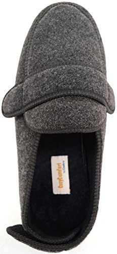 Mens Orthopaedic / EEE Wide Fit Adjustable Slipper Boot / Slippers Grey O7e7Vq