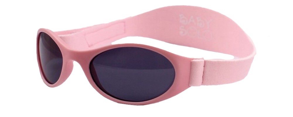 Baby Solo Sunglasses with strap Matte Pink Frame w/ Solid Black Lens