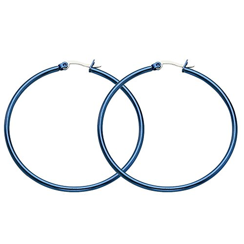 Stainless Steel Blue Polished Round Hoop Earrings - 44mm from Chisel