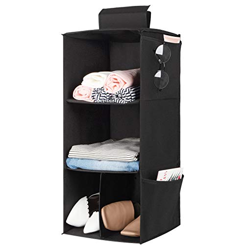 (3 Shelves Hanging Closet Organizer, Cloth Hanging Shelves for Closet Organizer with Hook and Loops ,Polyester Canvas,Collapsible Storage Shelves for Clothes, Shoes and Accessories (3 Shelf - Black))