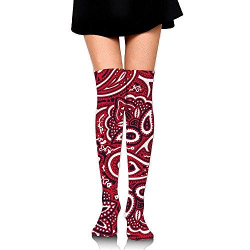 Blue Quilt Bandanas (Bandana Background Women's Classic Over Knee Thigh Socks Stocking Athletic Knee Socks Stockings)
