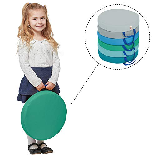 ECR4Kids SoftZone Floor Cushions with Handles, 2 Deluxe Foam, Round, Contemporary, (6-Pack)