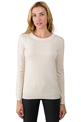 JENNIE LIU Women's 100% Pure Cashmere Long Sleeve Crew Neck Sweater (M, Cream)