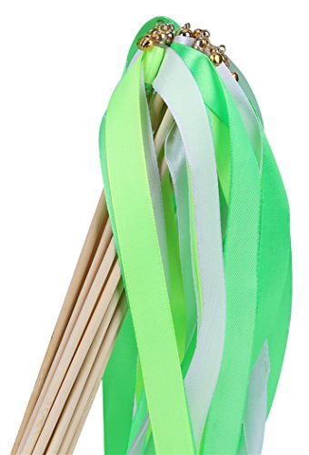 30pcs Ribbon Wands Party Streamers for Wedding Party Activities (Green)