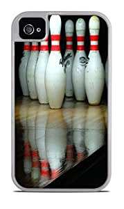Bowling Pins White 2-in-1 Protective Case with Silicone Insert for Apple iPhone 4 / 4S