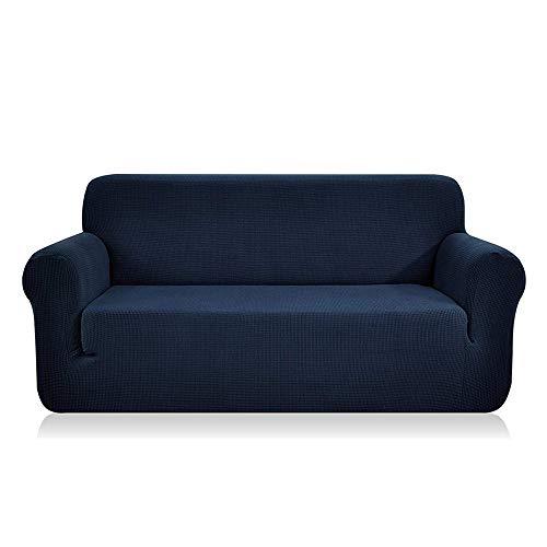 Enova Home Jacquard Polyester Spandex Fabric Box Cushion Sofa Slipcover (Dark Blue, loveseat) ()