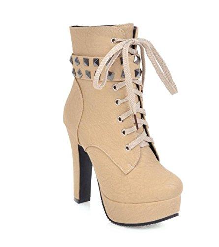 HETAO Persönlichkeit Heels Frauen-Damen-Stiefel-Absatz-Knöchel schnüren sich oben Plattform-Plattform-Aufladungen Temperament elegant Schuhe Yellow