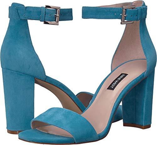Nine West Womens Nora Block Heeled Sandal Sea Blue 8 M