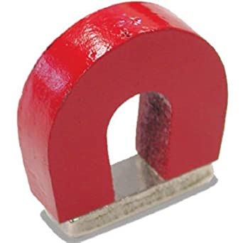 """Red Cast Alnico 5 Horseshoe Magnet With Keeper, 1.133"""" Wide, 1"""" High, 0.318"""" Thick (Pack of 1)"""
