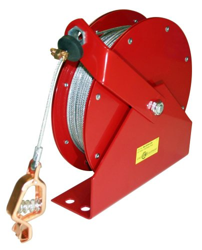 Lind Equipment ML2930-C75 Heavy Duty Static Grounding Reel, Auto-Rewind, 75ft, Clear-Coated Plated Steel Cable, LE-21C Alligator Clip