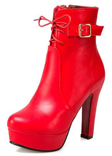 IDIFU Womens Trendy High Block Heels Platform Ankle Boots With Side Zipper Red eqCDJ1qmUh