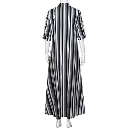 AMOFINY New Women Boho Striped Multicolor Loose Button Beach Party Long Dresses by AMOFINY-Dress (Image #5)