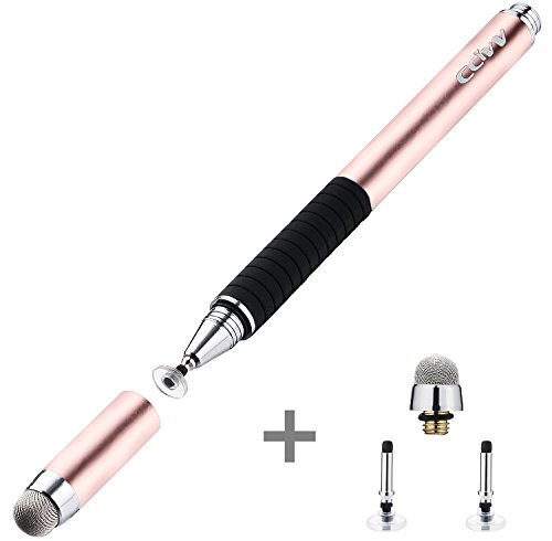 CCIVV Stylus Pen 2 in 1 Fine Point & Mesh Tip for Touch Screen Tablet and Cellphone, iPad Kindle iPhone (Rose Gold)
