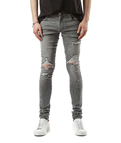 Wiberlux Amiri Men's Pre-Damaged Skinny Jeans 29 Light (Acne Jeans Skinny Jeans)