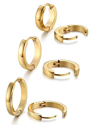 Jstyle Stainless Steel Mens Womens Hoop Earrings Huggie Ear Piercings G
