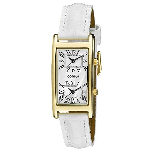 Gotham Woman's Gold-Tone Dual Time White Leather Strap Watch # GWC15090GWH