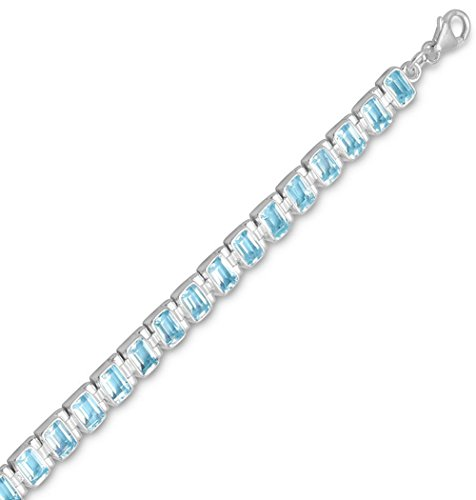 Blue Topaz Sterling Silver Bracelet, Lobster Clasp, 7+1inExt long, 1/4 inch wide by Silver Messages
