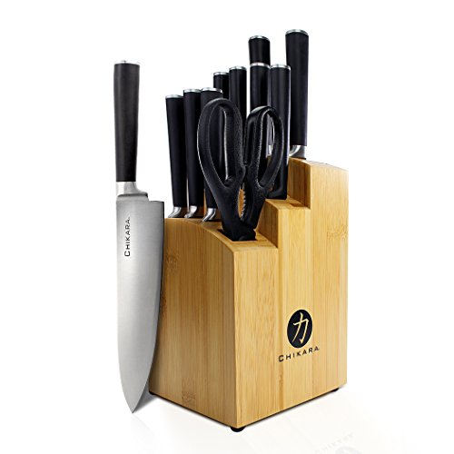 Ginsu Gourmet Chikara Series Forged 12-Piece Japanese Steel Knife Set – Cutlery Set with 420J Stainless Steel Kitchen Knives – Bamboo Finish Block, 07112DS