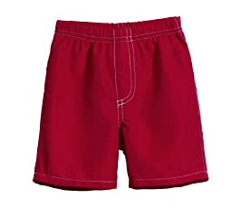 City Threads Little Boys\' Solid Swimsuit Swim Trunks, Red w Light Blue, 2T