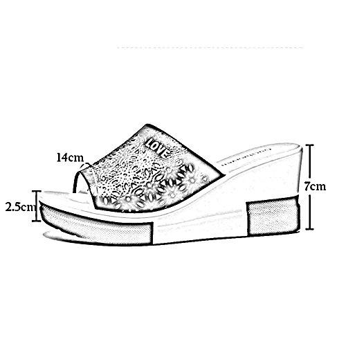 mujeres impermeable punta de de de de ZHIRONG Sandalias Tamaño Blanco zapatos las plataforma zapatos 7cm Negro romanos de playa Color zapatos de zapatillas verano tacón alto de plataforma abierta moda Uxn7Y76