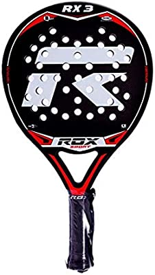 ROX RX3 Pala de pádel, Unisex Adulto, Negro/Rojo/Gris, 38 mm ...