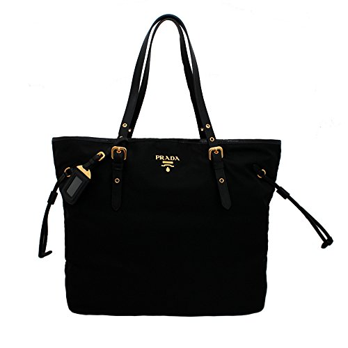 Prada BR4997 Nero Tessuto Suffian Black Nylon and Leather Shopping Tote - Bag Shopping Prada