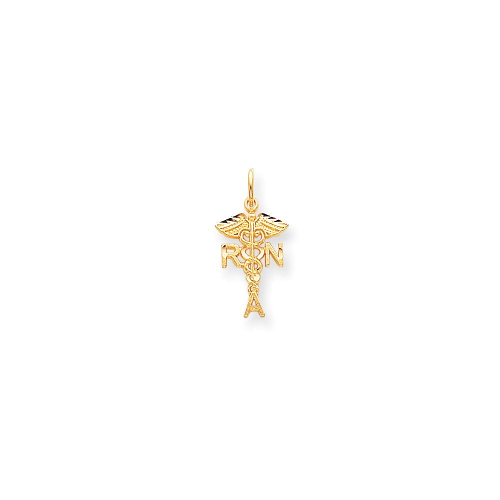 10K Gold Solid Registered Nurse Charm Pendant 0.98 in x 0.43 in