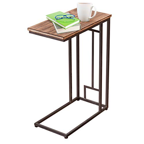 Tangkula 26 Snack Table Solid Wood Heavy Duty Portable Living Room Bedroom Couch Sofa Side Table End Table Laptop Desk Couch Stand C Table