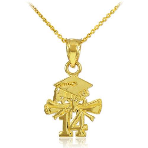 14k Gold Diploma Charm (Dainty 14k Gold Diploma & Cap Charm 2014 Graduation Necklace, 22