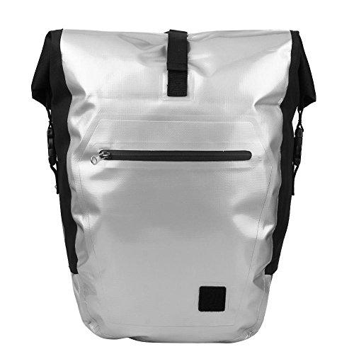 (Mountain Bike Rear Bag Waterproof Pannier Double Side Tail Seat Bag(Silver))