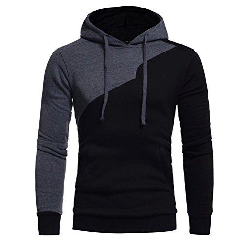 kaifongfu Mens' Hooded Outwear, Long Sleeve Patchwork Hoodie Hooded Sweatshirt Tops Jacket Coat Outwear (XXXL, (Seersucker Patchwork)
