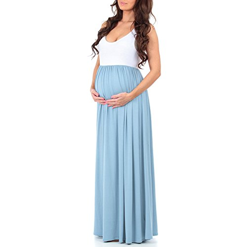 Blue Stretch Dress - Trancylight Women Casual Sleeveless Color Block Maternity Dresses Stretch Maxi Tank Dresses (Blue, XL)
