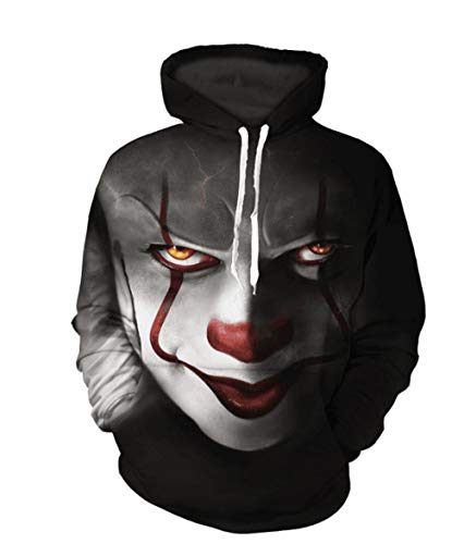 (maduang Men's Exquisite Horror Clown 3D Digital Print Hooded Couples O-Neck Long Sleeve Loose)