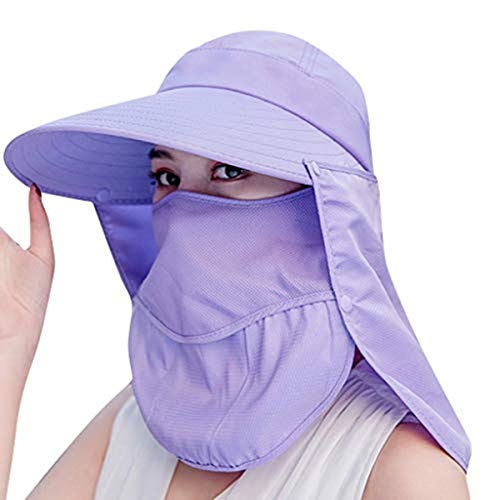 AcisuHu Summe Ladies Sun Protective Summe Hat Sunscreen Mask Anti-UV Double Layer Outdoor Adjustable Cycling Cap Topee Visor (Purple, One)