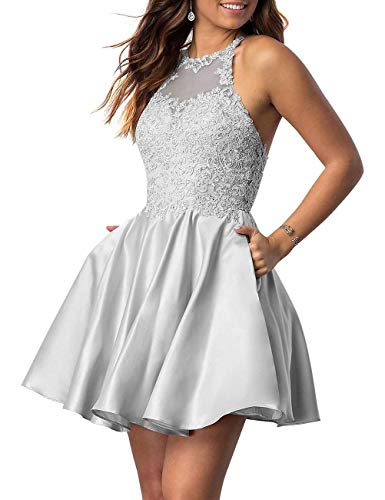 Halter Applique - PromQueen Lace Applique Sleeveless Halter Prom Dress Homecoming Dess Short A-line Backless Evening Gown for Bridesmaid Gray