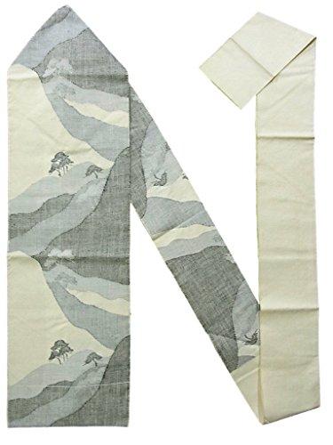 ゆりアセンブリ回路リサイクル 名古屋帯 紬 山々や松の木 八寸 正絹
