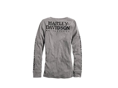Harley-Davidson Skull Snap Front Longsleeve Henley Damen Shirt, 99143-14VW
