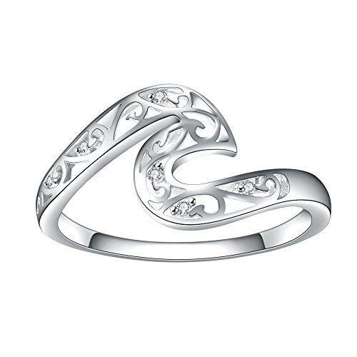(Rongxing 925 Sterling Silver Wave Hollow Geometry Chic Ring,Professional For Female Friends Ready To Give Their Own Gifts (9))