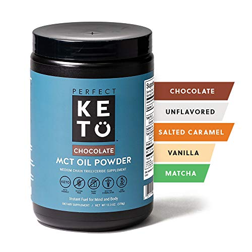 Perfect Keto MCT Oil Powder: Ketosis Supplement (Medium Chain Triglycerides, Coconuts) for Ketone Energy. Paleo Natural Non Dairy Ketogenic Keto Coffee Creamer (Chocolate)