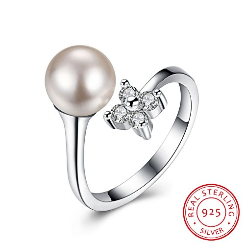 925 Sterling Silver Adjustable Open Ring IVYRISE Pretty Diamonds Flower Luxury Pearl Resizable Wedding Anniversary Band